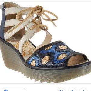 Fly London Blue Lace Up Wedges Sandals Size 40